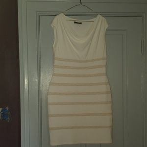 Ralph Lauren cream and tan striped fitted dress